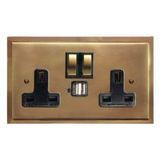 Mode Switched Socket 2 Gang USB Hand Aged Brass