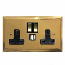 Mode Switched Socket 2 Gang USB Polished Brass Lacquered & Black Trim