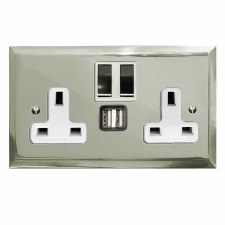 Mode Switched Socket 2 Gang USB Polished Nickel