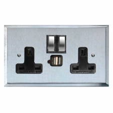 Mode Switched Socket 2 Gang USB Satin Chrome & Black Trim