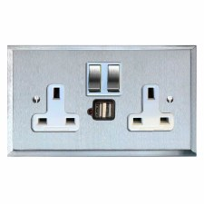 Mode Switched Socket 2 Gang USB Satin Chrome & White Trim