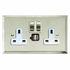 Mode Switched Socket 2 Gang USB Satin Nickel