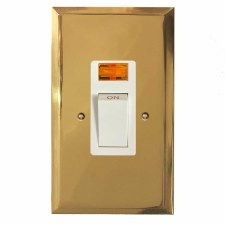Mode Vertical Cooker Switch Polished Brass Lacquered & White Trim