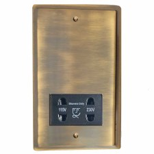Mode Shaver Socket Antique Brass Lacquered