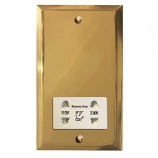 Mode Shaver Socket Polished Brass Lacquered & White Trim