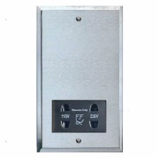 Mode Shaver Socket Satin Chrome & Black Trim