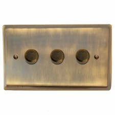 Mode Dimmer Switch 3 Gang Antique Brass Lacquered