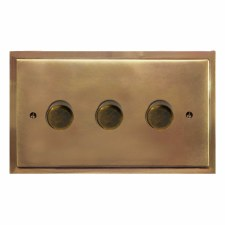 Mode Dimmer Switch 3 Gang Hand Aged Brass