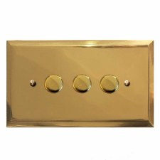 Mode Dimmer Switch 3 Gang Polished Brass Unlacquered
