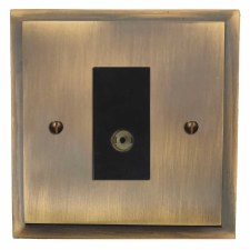Mode TV Socket Outlet Antique Brass Lacquered
