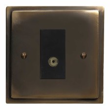 Mode TV Socket Outlet Dark Antique Relief