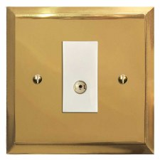 Mode TV Socket Outlet Polished Brass Lacquered & White Trim