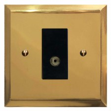 Mode TV Socket Outlet Polished Brass Lacquered & Black Trim