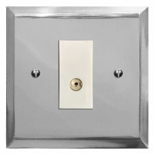 Mode TV Socket Outlet Polished Chrome & White Trim