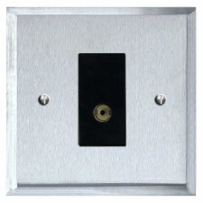 Mode TV Socket Outlet Satin Chrome & Black Trim