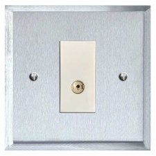 Mode TV Socket Outlet Satin Chrome & White Trim