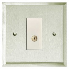 Mode TV Socket Outlet Satin Nickel
