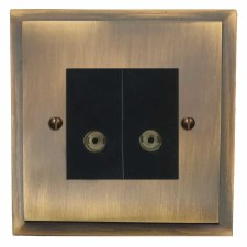 Mode TV Socket Outlet 2 Gang Antique Brass Lacquered