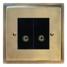 Mode TV Socket Outlet 2 Gang Antique Satin Brass