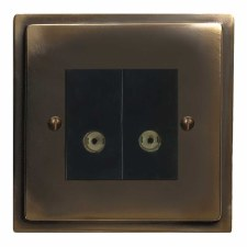 Mode TV Socket Outlet 2 Gang Dark Antique Relief