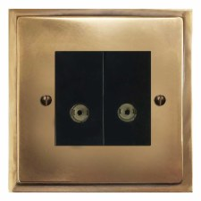 Mode TV Socket Outlet 2 Gang Hand Aged Brass