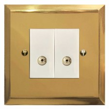 Mode TV Socket Outlet 2 Gang Polished Brass Lacquered & White Trim