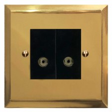 Mode TV Socket Outlet 2 Gang Polished Brass Lacquered & Black Trim