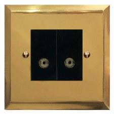 Mode TV Socket Outlet 2 Gang Polished Brass Lacquered & Black Trim