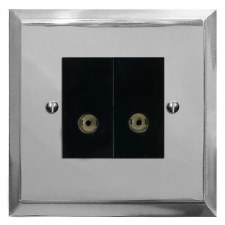 Mode TV Socket Outlet 2 Gang Polished Chrome & Black Trim