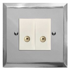 Mode TV Socket Outlet 2 Gang Polished Chrome & White Trim