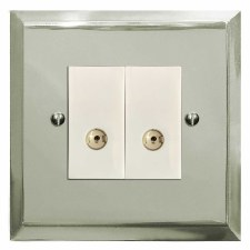 Mode TV Socket Outlet 2 Gang Polished Nickel