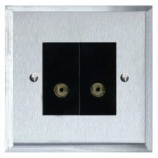 Mode TV Socket Outlet 2 Gang Satin Chrome & Black Trim