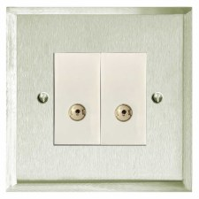 Mode TV Socket Outlet 2 Gang Satin Nickel