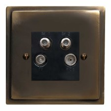 Mode Quadplex TV Socket Dark Antique Relief