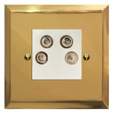 Mode Quadplex TV Socket Polished Brass Lacquered & White Trim