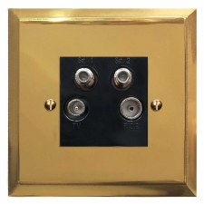 Mode Quadplex TV Socket Polished Brass Lacquered & Black Trim