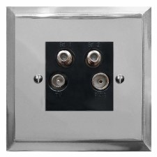 Mode Quadplex TV Socket Polished Chrome & Black Trim