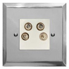 Mode Quadplex TV Socket Polished Chrome & White Trim