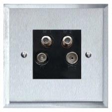 Mode Quadplex TV Socket Satin Chrome & Black Trim