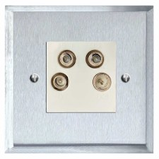 Mode Quadplex TV Socket Satin Chrome & White Trim