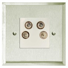 Mode Quadplex TV Socket Satin Nickel