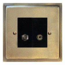 Mode Satellite & TV Socket Outlet Antique Satin Brass
