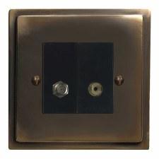 Mode Satellite & TV Socket Outlet Dark Antique Relief