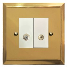 Mode Satellite & TV Socket Outlet Polished Brass Lacquered & White Trim