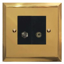 Mode Satellite & TV Socket Outlet Polished Brass Lacquered & Black Trim