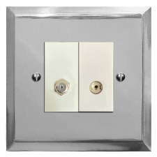 Mode Satellite & TV Socket Outlet Polished Chrome & White Trim