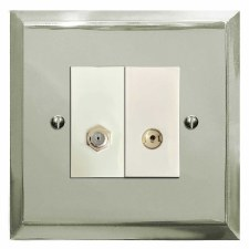Mode Satellite & TV Socket Outlet Polished Nickel