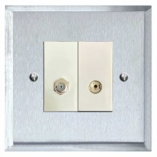 Mode Satellite & TV Socket Outlet Satin Chrome & White Trim