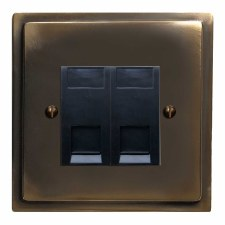 Mode Telephone Socket Secondary 2 Gang Dark Antique Relief