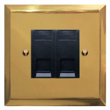 Mode Telephone Socket Secondary 2 Gang Polished Brass Lacquered & Black Trim